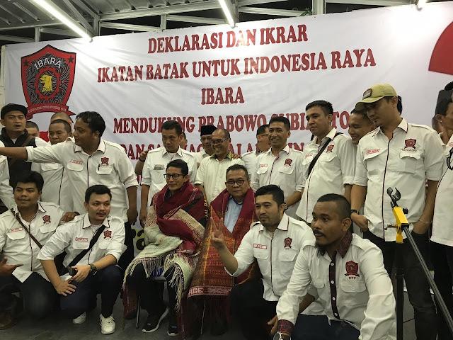 Disaksikan Sandi, Ikatan Batak Indonesia Raya Deklarasi Dukung Prabowo-Sandi