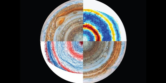 Views Jupiter's south pole (upper left and lower right) and images from the lab experiment to re-create the planet's winds (upper right and lower left). Credit: Jonathan Aurnou