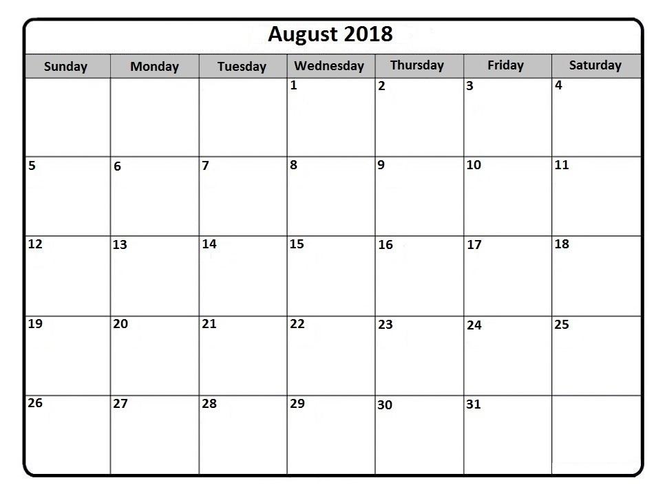 august monthly calendar 2018 - Maggihub-rural