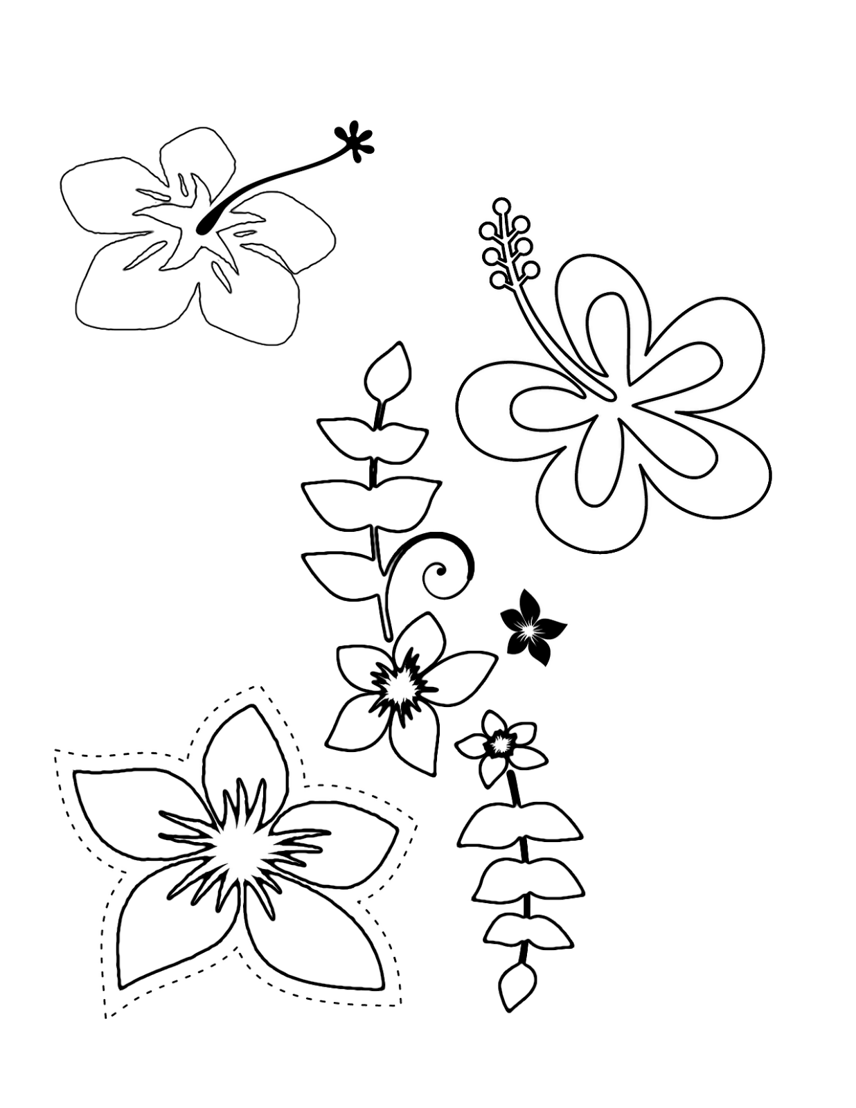 Tropical Flower Coloring Pages - Flower Coloring Page