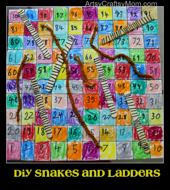 Diy snakes and ladders artsy craftsy mom for Make your own snakes and ladders template