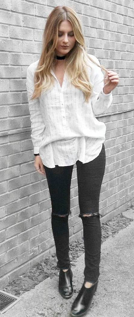 casual style obsession: shirt + rips