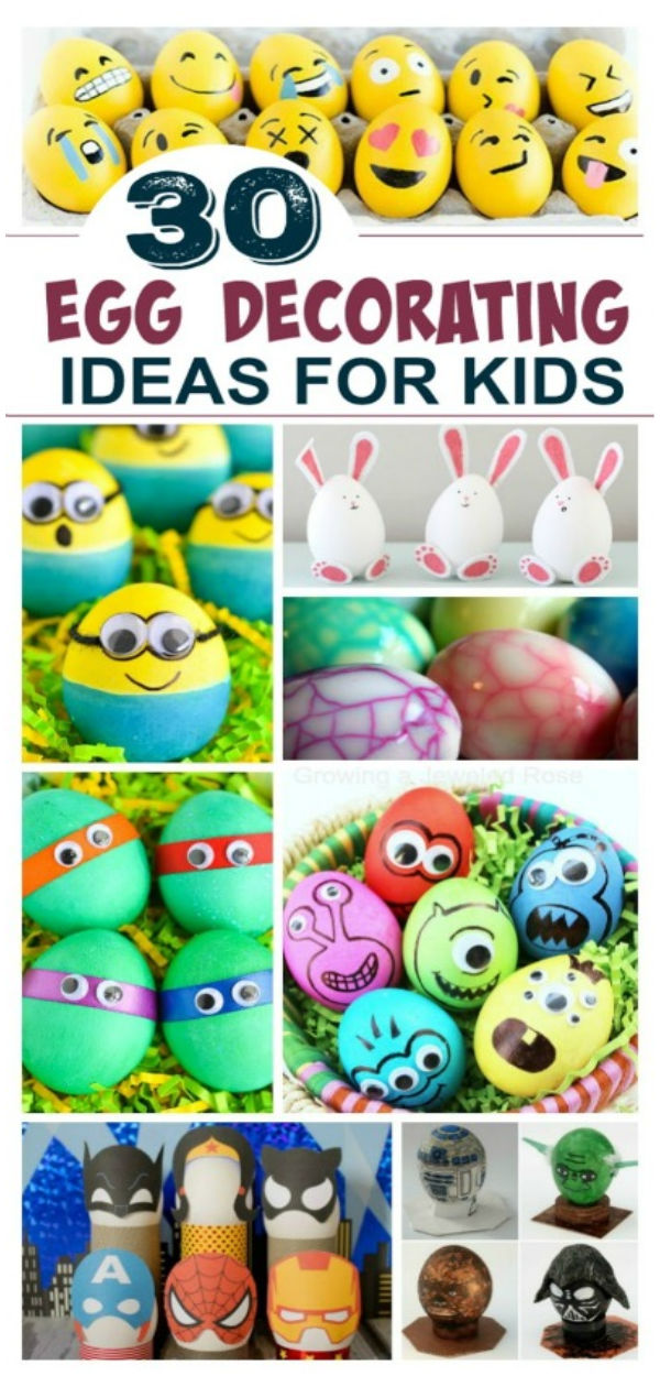 Over 30 fun and creative ways to decorate & dye Easter eggs with kids.  Kids of all ages are sure to love these Easter egg ideas.  #eastereggcrafts #eggdecorating #eggdecoratingideascreative #easteractivitieskids #eastereggdecoratingforkids #eastereggdyeideas #decoratingeastereggswithkids  #kidseastercrafts