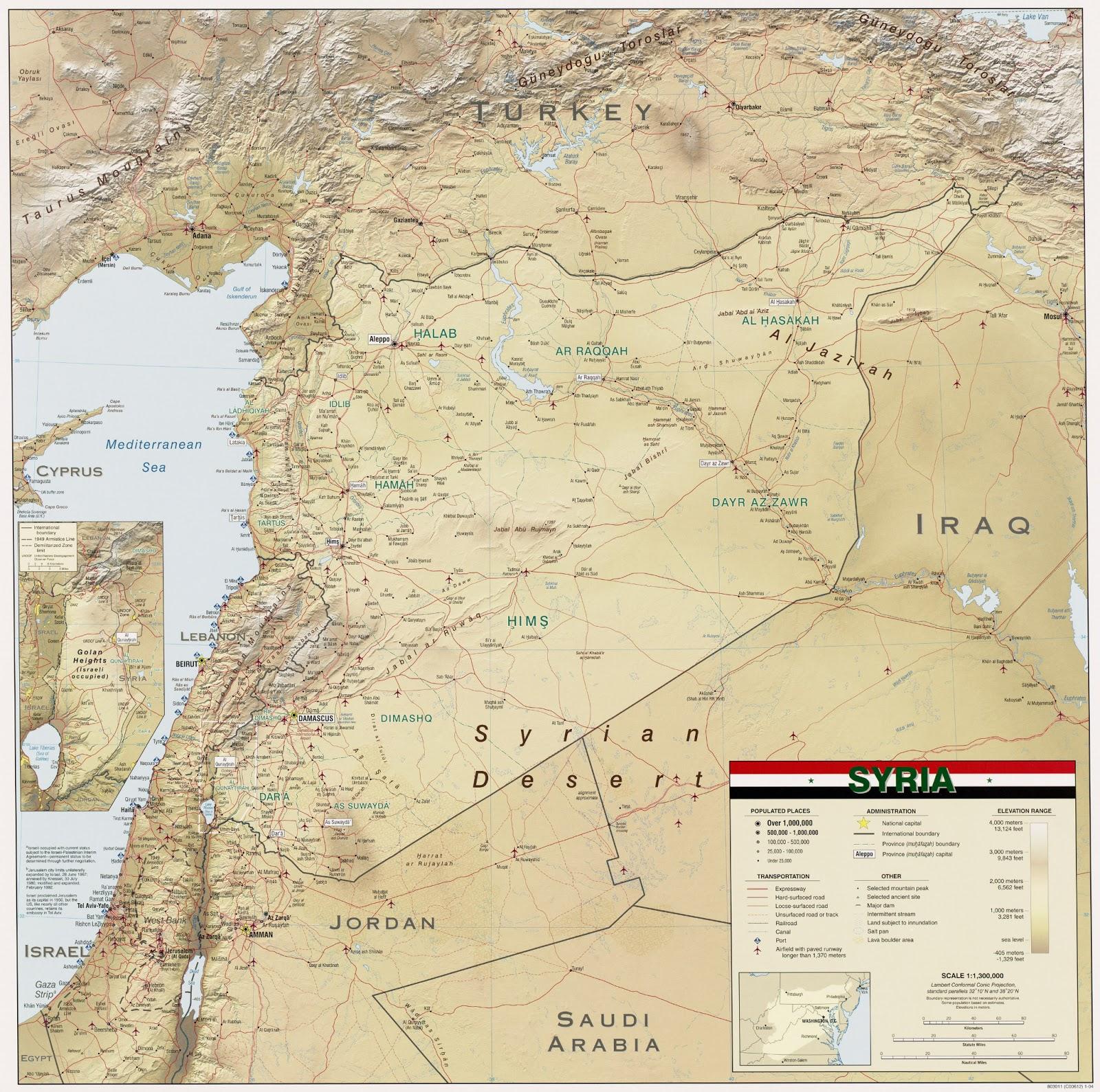 Mapas Geográficos da Síria