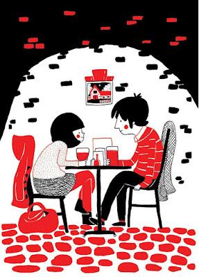 Ilustración de cita de pareja