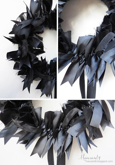 Black ribbon wreath - DIY tutorial - detail pictures