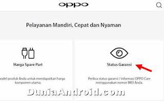 Cek status masa garansi OPPO via situs resmi