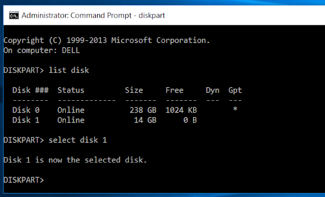 Diskpart Select Disk Command