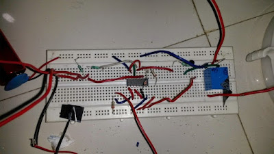 water level controller tested breadboard image showing IC connecting
