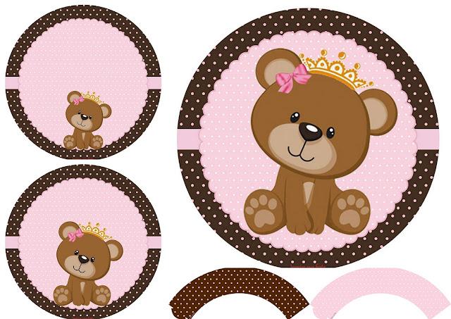 Osita Princesa: Wrappers y Toppers para Cupcakes para Imprimir Gratis.
