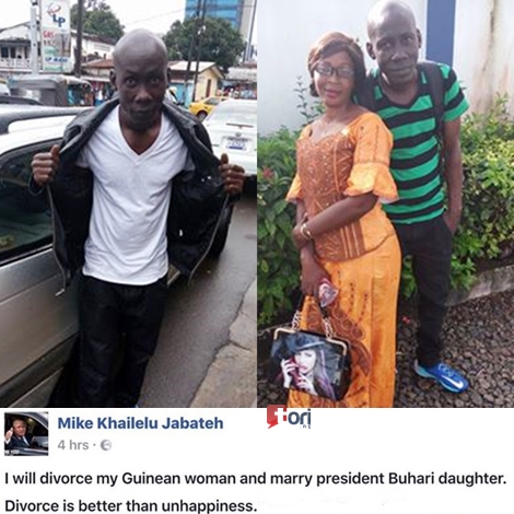 See The Liberian Man Vowed to Divorce His Wife to Marry Zahra Buhari (Photo)