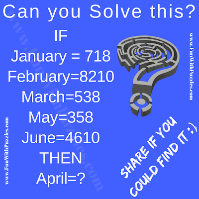 It is logic picture for teens in which you have to deduct logical reasoning which relates Month names to the numbers