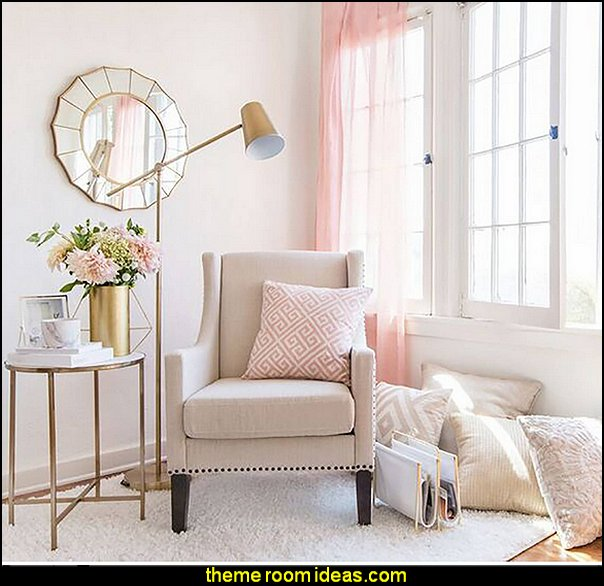 Blush pink decorating - blush pink decor - blush and gold decor - blush pink and gold bedroom decor -  blush pink gold baby girl nursery furniture - blush art prints - rose gold bedroom decor -