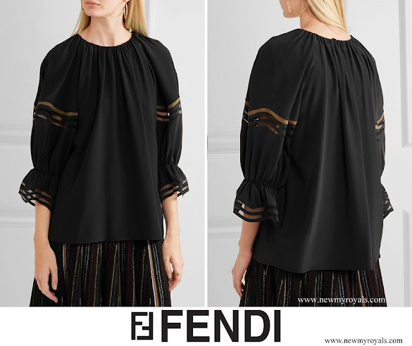 Queen Rania wore FENDI Mesh trimmed silk blouse