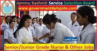 JKSSB Grade Nurse Recruitment 2017-18 for 333 Jr. Asst., Steno Jobs
