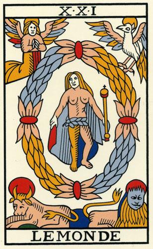 Les Secrets du Tarot  LE MONDE (Arcane 21) 901ddb333d91