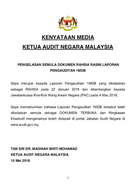 Laporan Audit Negara Declassification: Ringkasan Eksekutif 1MDB