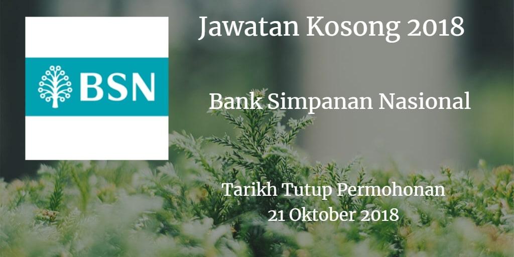 Jawatan Kosong BSN 21 Oktober 2018