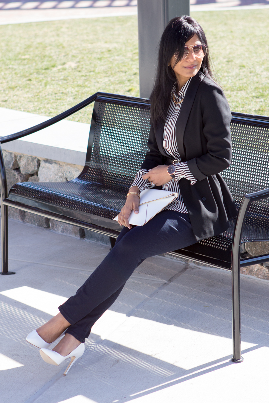 workwear, work style, office style, career style, dress with confidence, look powerful, dress for the job you want, black blazer, slouchy blazer, belted blazer, petite blazer, aviator, skinny jeans, black and white, button-down, striped button-down, white bag, white shoes, professional, working woman, girl boss