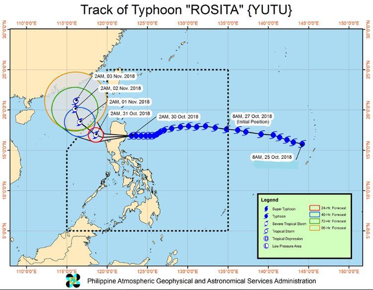 Typhoon Rosita track