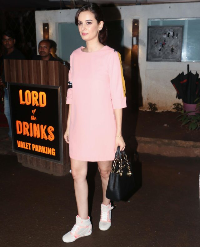 Evelyn Sharma Long Legs Show In Pink Mini Dress