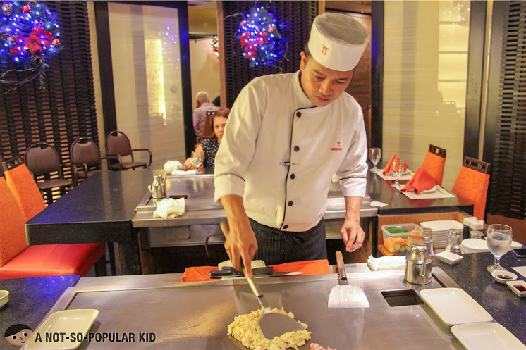Chefs preparing the teppan dishes in Kimpura, Greenbelt