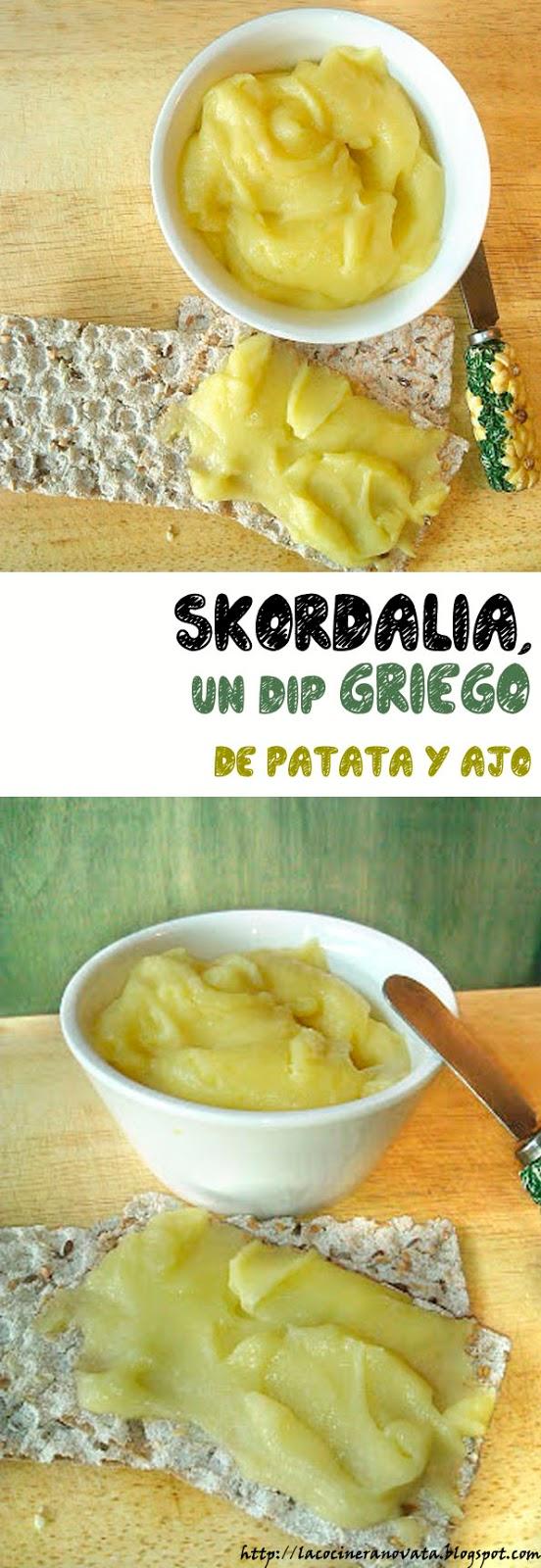 la cocinera novata SKORDALIA DIP GRIEGO DE PATATA Y AJO RECETA COCINA PLATO GRECIA CREMA UNTAR VEGETARIANO VEGANO ACEITE DE OLIVA