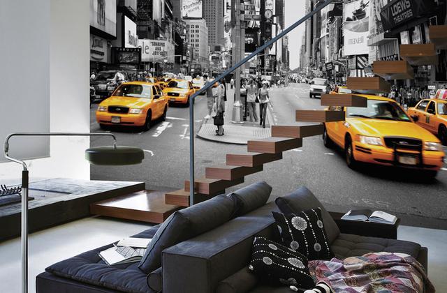 Kaupunki Tapetti  New York Tapetti Mustavalkoinen Taxi