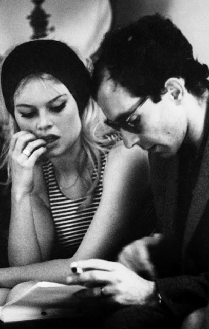 Bardot e Godard on the set of Le Mépris (1963) capri