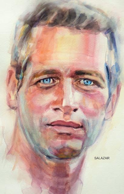 Retrato de Paul Newman con acuarelas