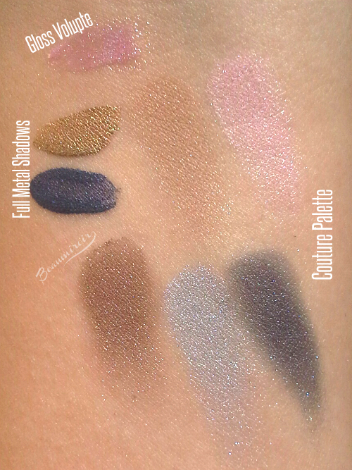 Swatches of YSL Savage Escape collection: Full Metal Shadows, Gloss Volupte, Couture palette