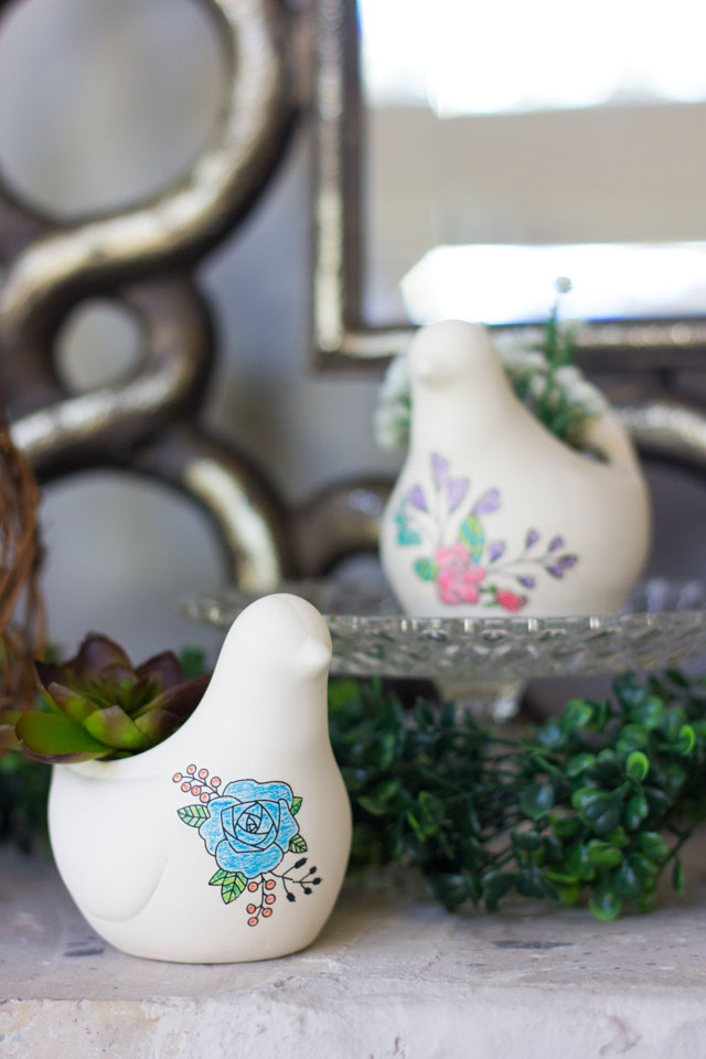 Ceramic bird planters - decorated with floral rub-ons. So pretty and easy!