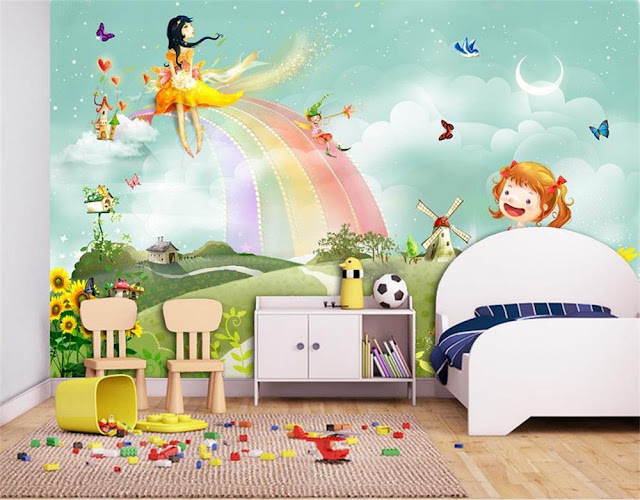 Rainbow Wall Mural Girl Room