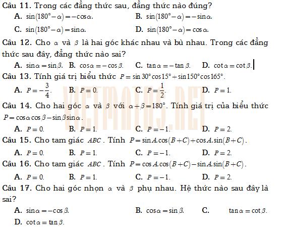 Trac nghiem tich vo huong hai vec to va ung dung Thay Khanh phan 2