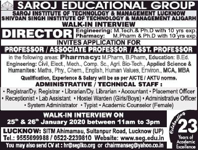Saroj Institute Lucknow Biotech Faculty Jobs Ad image