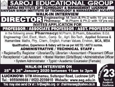 Saroj Institute Lucknow Biotech Faculty Jobs