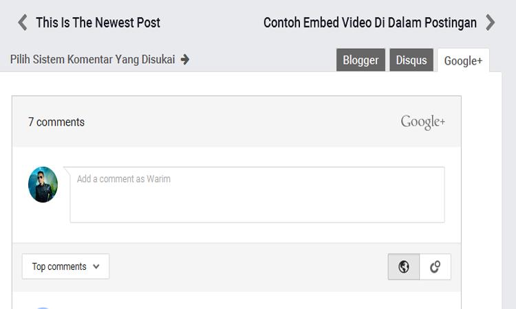 Memasang Komentar Google Plus Di Blog