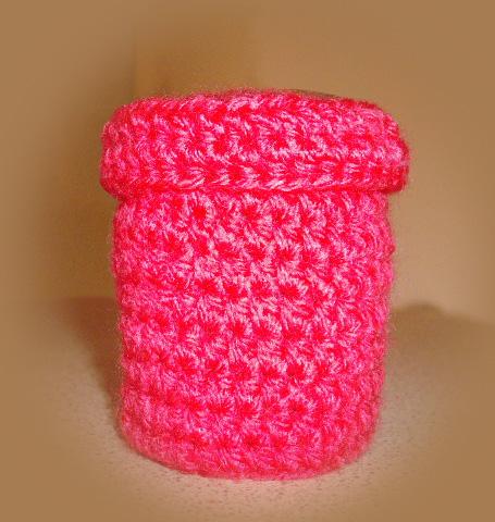 ροζ μπιζουτιέρα με βελονάκι