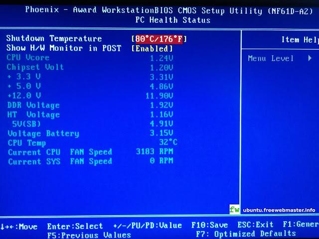 Мониторинг параметров оборудования компьютера в BIOS