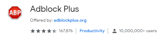 Adblock plus (credit to https://chrome.google.com/webstore/detail/adblock-plus/cfhdojbkjhnklbpkdaibdccddilifddb?hl=en-US)