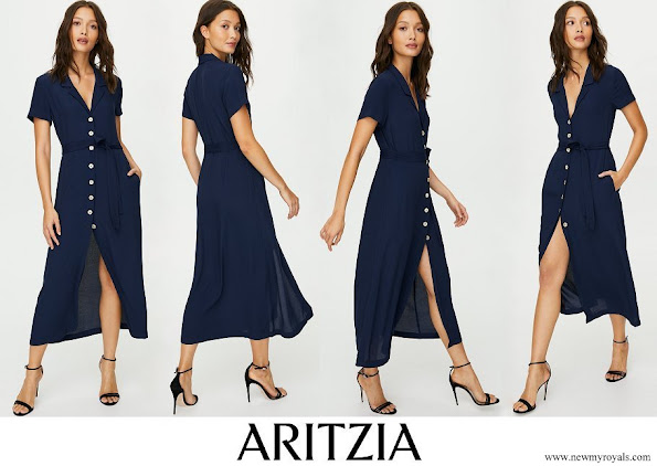 Meghan Markle wore Aritzia Button front midi shirt dress