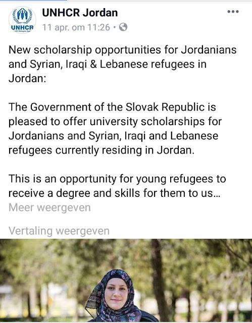 منح دراسية جديدة في الجامعات السلوفاكية للاجئيين المتواجدين في الأردن