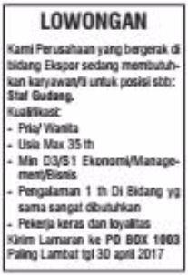 Tantangan Kerja Lampung Terbaru Dari Perusahan Expor April 2017