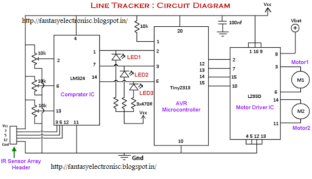 fantasyelectronics  line following robot or line tracker using attiny2313