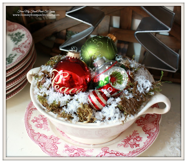 Farmhouse Christmas Kitchen-Vintage Ironstone-Vintage Red Transferware-From My Front Porch To Yours