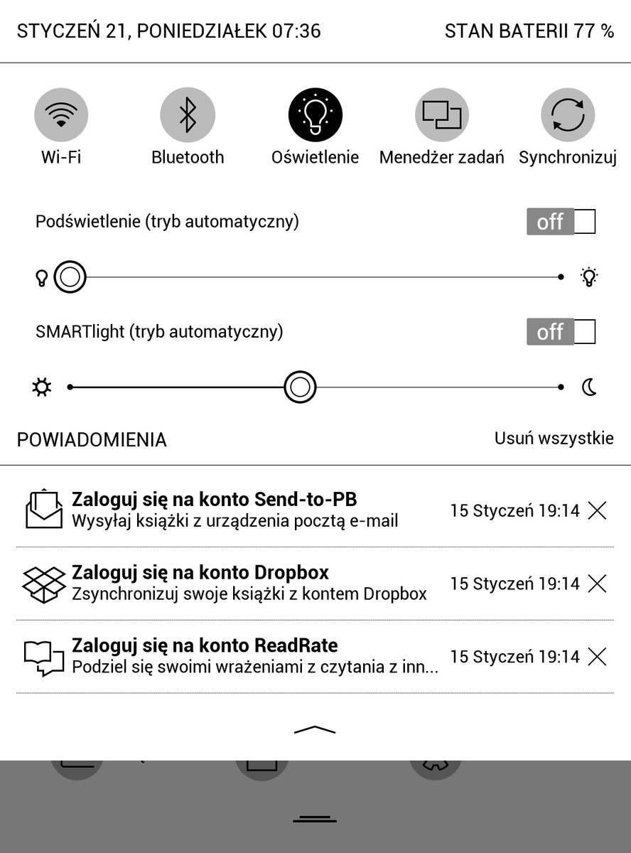 Górne rozwijane menu z ekranu startowego w PocketBook Touch HD 3