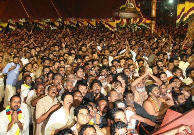 devotees waits at the Sannidhanam of Lord Ayyappa Temple at Sabarimala ...