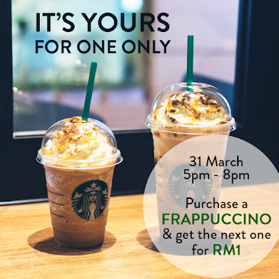 Starbucks Malaysia 2nd Frappuccino RM1 Discount Promo