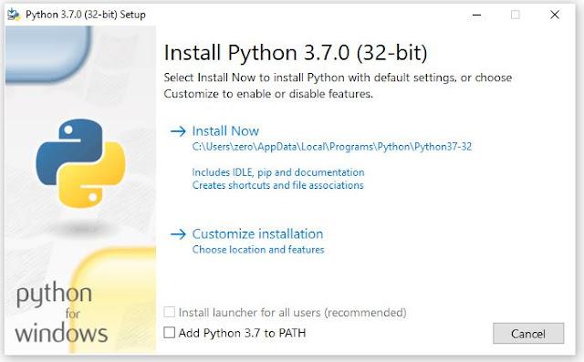menginstal python di windows 7,8,10