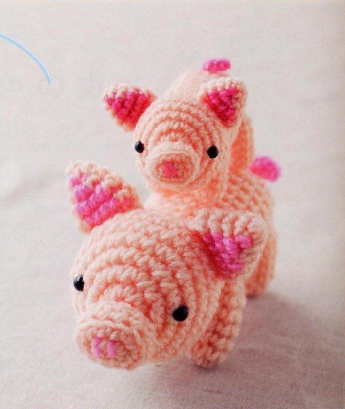 мама свинка и поросята крючком Hi Amigurumi